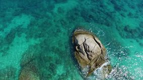 Flight above beautiful beach in thailand, Aerial. Veiw on volcanic rock. Clear water sunny day.  Samui island stock footage