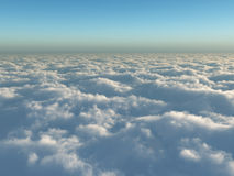 Flight above clouds. Full overcast Stock Photos