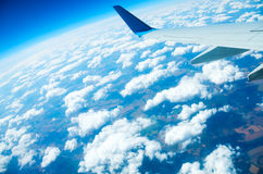 Flight above a ground. In a blue sky Stock Photography