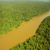 Flight above the jungle by Iguazu river. Stock Photos