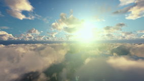 Flight above morning clouds stock video