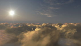 Flight above time lapse clouds at sunset, stock footage Stock Image