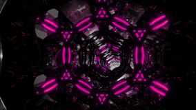 Flight through an abstract endless tunnel of purple-black rings. Looped 3D video in 4K. Movement through an endless tunnel of purple-black rings background stock video footage