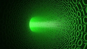 Flight through abstract green tunnel made with zeros and ones. Hi-tech background. IT, binary data transfer, digital stock illustration