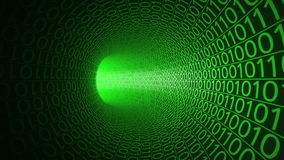 Flight through abstract green tunnel made with zeros and ones. Hi-tech motion background. IT, binary data transfer. Flight through abstract green tunnel made stock video footage