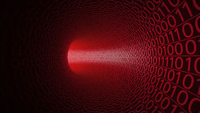 Flight through abstract red tunnel made with zeros and ones. Modern background. Danger, threat, binary data transfer Stock Photos