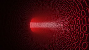 Flight through abstract red tunnel made with zeros and ones. Modern motion background. Computers, binary data transfer. Flight through abstract red tunnel made stock footage