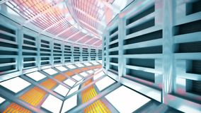 Flight in a sci-fi spaceship corridor. 3D rendering. Flight in a abstract sci-fi spaceship corridor Stock Image