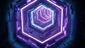 Flight in abstract sci-fi tunnel. Futuristic background for music video