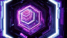 Flight in abstract sci-fi tunnel seamless loop. Futuristic VJ for music video