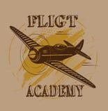 Flight academy old plane design brown. Colored background plane design stock illustration