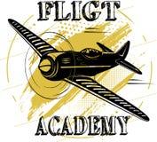 Flight academy old plane design brown. Flight academy old plane design white colored background plane design vector illustration