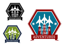 Flight adventures emblem or label Stock Photo