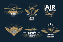 Flight adventures vector logos and labels Royalty Free Stock Photo
