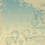 FLIGHT Aeronautics . Vintage hot air balloons floating in the sky. Grunge background. Monochrome in shades of blue. Royalty Free Stock Photos