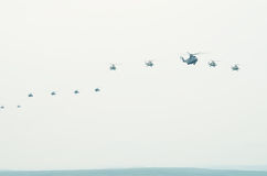 Flight of aircraft in the sky Stock Image