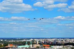 Flight of aircrafts. Warsaw, Poland.15 August 2017. Military parade in Warsaw on the occasion of the Polish Army Day. Flight of aircrafts Royalty Free Stock Image