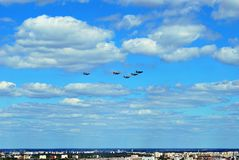 Flight of aircrafts. Warsaw, Poland.15 August 2017. Military parade in Warsaw on the occasion of the Polish Army Day. Flight of aircrafts Stock Images