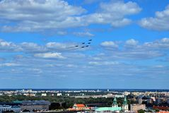 Flight of aircrafts. Warsaw, Poland.15 August 2017. Military parade in Warsaw on the occasion of the Polish Army Day. Flight of aircrafts Royalty Free Stock Images