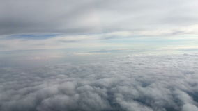 The flight airplane above  a clouds stock video