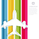 Flight airplane silhouette and rainbow stripes background with p Royalty Free Stock Images