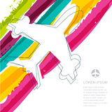 Flight airplane silhouette and rainbow stripes watercolor backgr Stock Photos
