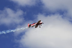 Flight at airshow. Flight at Korotich Airshow. Kharkov, Ukraine. 22.08.2015. (Original PSD file is attached Stock Photography