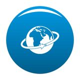 Flight around earth icon blue vector. Flight around earth icon vector blue circle isolated on white background Royalty Free Stock Images