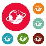Flight around earth icons circle set vector. Isolated on white background Stock Image