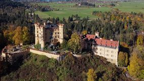 Aerial view of Hohenschwangau Castle, Germany stock video