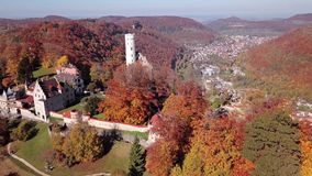 Flight around Lichtenstein Castle, Germany. stock video footage