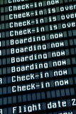 Flight arrival board in airport, closeup. Stock Photography
