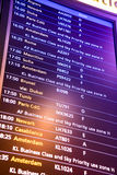 Flight arrival and departure sign board in airport.  Royalty Free Stock Image