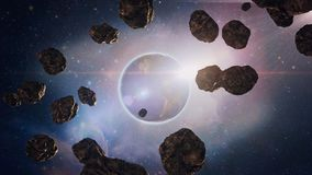 Flight through the asteroids in space, the planet Saturn, with its bright glare stock illustration