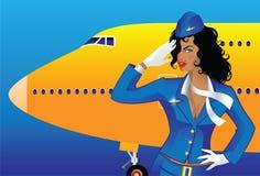 Flight attendant. Illustration of saluting flight attendant Stock Photo