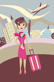Flight attendant. With airplane. Vector illustration Royalty Free Stock Photos