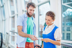 Flight attendant at the airport. Royalty Free Stock Photo