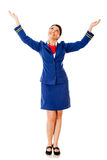 Flight attendant with arms open Stock Image