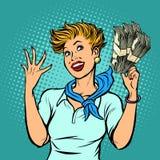 Flight attendant counts dollars royalty free illustration