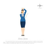 The flight attendant demonstrates the use of an oxygen mask. Stewardess in aircraft cabin. Vector illustration vector illustration
