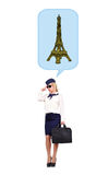 Flight attendant  dreaming of eiffel tower. Isolated on white background Stock Photography