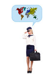 Flight attendant  dreaming of travel Stock Photo
