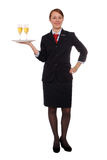Flight attendant with drinks stock image