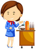 Flight attendant and drinks trolley cart. Illustration Royalty Free Stock Images