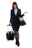 Flight attendant going to work Stock Photo