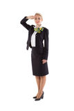 Flight attendant greet the crew commander Royalty Free Stock Images