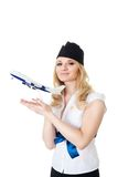 Flight attendant with model of aircraft royalty free stock photos