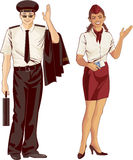 Flight attendant and pilot Royalty Free Stock Photos