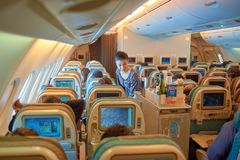 Flight attendant serve food and drinks. SINGAPORE - NOVEMBER 03, 2015: flight attendant serve food and drinks to passengers on board of Singapore Airlines Airbus Stock Photography