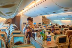 Flight attendant serve food and drinks. SINGAPORE - NOVEMBER 03, 2015: flight attendant serve food and drinks to passengers on board of Singapore Airlines Airbus Stock Photos